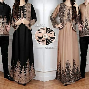 Baju Couple Katun Rayon Motif Laura / Set Gamis Dress Kemeja Batik Couple