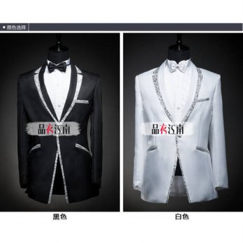 [globalbuy] 2016 Classic Black White silver edge Mens Suits Groom Tuxedos Best man costume/4219898