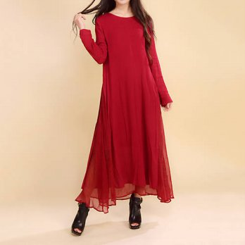 [globalbuy] Women Dress Solid Color Red Color Plus Size 2XL Loose Cotton Linen Vintage Dre/4224986