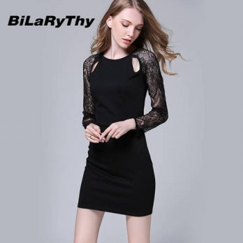 [globalbuy] New Autumn Winter Women Hollow Cut Out Retro Long Sleeve Wrap Bodycon Bandage /4224985