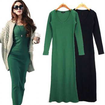 [globalbuy] 2016 autumn winter Long sleeve maxi dress Elegant office robe femme casual dre/4224950