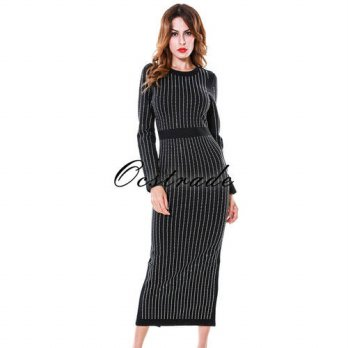 [globalbuy] Bodycon Dress 2016 New Fashion Beautiful Long Sleeve Womens Midi Dress for Nig/4225016