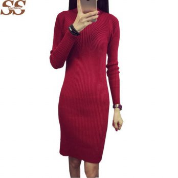 [globalbuy] 6 Solid Color women sweater winter dresses slim long Sleeve Warm Wool knitted /4225012
