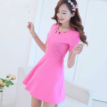 [globalbuy] Summer Dress 2016 Women Dress (s-xxl) Sexy Hollow Round Neck Short Sleeve Dres/4225009