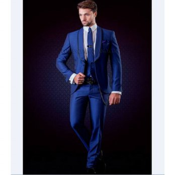 [globalbuy] New Groomsmen Shawl Lapel Groom Tuxedos Royal Blue Men Suits Wedding Best Man /4219886