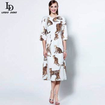 [globalbuy] New 2016 Fashion Runway Dress Autumn Womens High Quality Half Sleeve White Ani/4225002