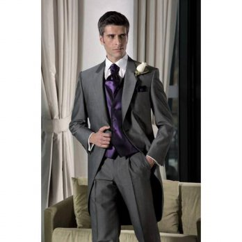 [globalbuy] Charcoal Gray Groom Morning Suits Groomsman Mens Wedding Prom Suits Custom Mad/4219882