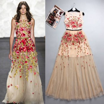 [globalbuy] New Summer Runway Women Sexy Lace Dress Embroidery Flower Sleeveless Sheer Max/4224977