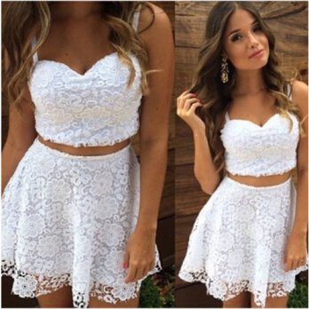[globalbuy] 2016 A Line Summer Sexy Women 2 Two Piece Lace Dress White Spaghetti Strap V N/4224972