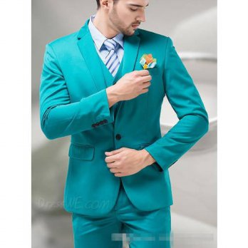[globalbuy] 2016 Green Blue Groom Tuxedos Notch Lapel Mens Suits Turquoise Bridegroom Wedd/4219859