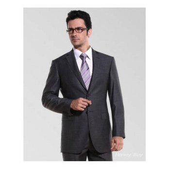 [globalbuy] New Style charcoal Groom Tuxedos two buttons Groomsmen Men Wedding Suits ( jac/4219853