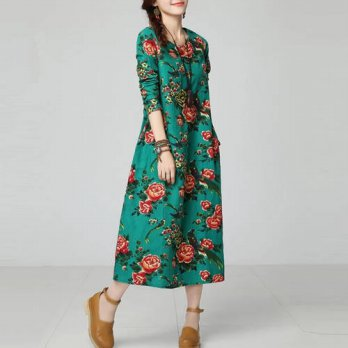 [globalbuy] 2016 New Women Casual Dresses Fashion Floral Print Ladies Loose Dresses Ethnic/4224952