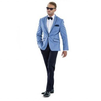 [globalbuy] Custom Made Slim Fit Groom Tuxedos blue Wedding Groomsman Mens Suits( jacket+P/4219844