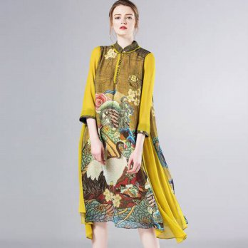 [globalbuy] new fashion vintage print plus size women casual autumn summer loose dress ves/4224941