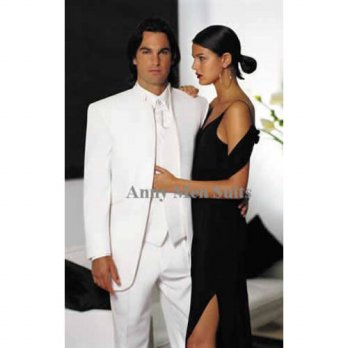 [globalbuy] 2015 New Arrivals White Stand Collar Groom Tuxedos Best Man Groomsman Prom Sui/4219814