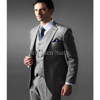 [globalbuy] 2016 Custom Made Groom Tuxedos Light Grey Notch Lapel Best Man Groomsman Men W/4219809
