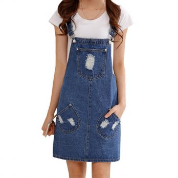 [globalbuy] Summer style 2016 denim dress Casual loose overalls dresses preppy style Big p/4224906