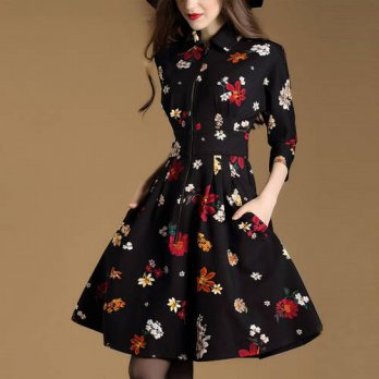 [globalbuy] Europes 2016 autumn and new womens seven split sleeve floral print dress/4224905