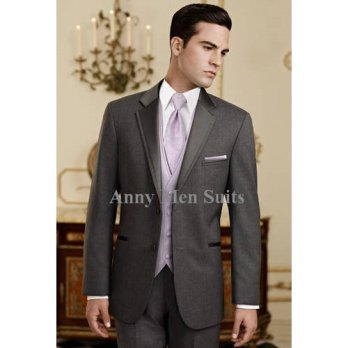 [globalbuy] 2016Custom Design Charcoal Gray Groom Tuxedos Groomsmen Notch Lapel Men Weddin/4219798