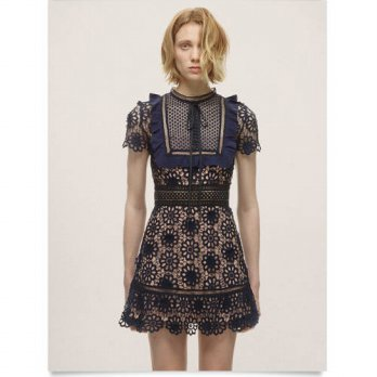 [globalbuy] Ruffles Vestidos 2016 New Runway self portrait Lace Crochet Hollow Out Flowers/4224895