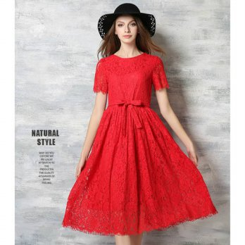 [globalbuy] Women Brand Red Lace Hollow Mid Dress Autumn 2016 Elegant Casual A Line Slim S/4224888
