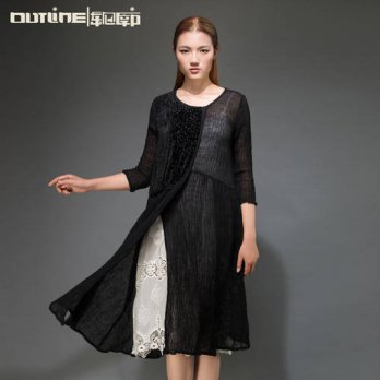 [globalbuy] Outline Designer Women Long Linen Dress in Black Bohemian Plus Size Loose Dres/4224944