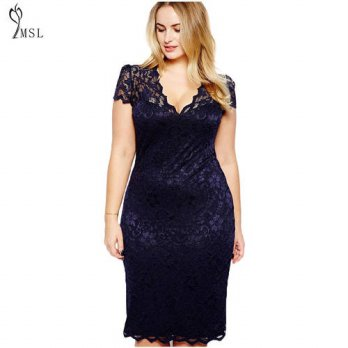 [globalbuy]  Robe Dentelle M-3XL Plus Size Lace Dress for Fat Female Evening Party Dress S/4224940