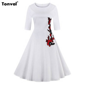 [globalbuy] Tonval Autumn Winter Women 2/3 Sleeve Embroidery Dress Retro Vintage Rockabill/4224934