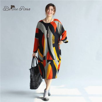 [globalbuy] BelineRosa Womens Autumn Big Sizes Clotings European Style Hit Color Color Pri/4224910