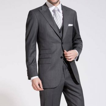 [globalbuy] Business Custom Made Grooms Men Suit With Pants charcosl Mens Tuxedos peaked L/4219779