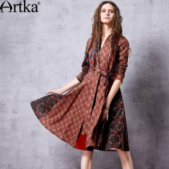 [globalbuy] Artka Womens Autumn New Ethnic Printed Patchwork Dress Vintage Stand Collar Lo/4224864