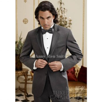 [globalbuy] 2015New Custom Design Charcoal Grey Groom Tuxedos Notch Lapel Groomsmen Men We/4219752