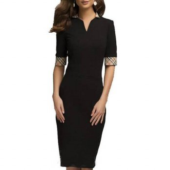 [globalbuy] summer dress 2016 Office Business Dress Summer Elegant Women Short Sleeve V-Ne/4224842