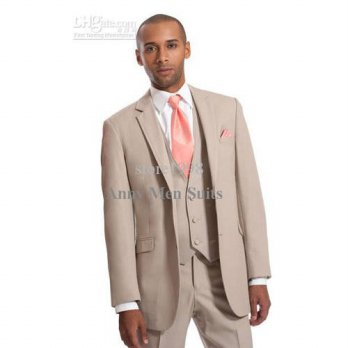 [globalbuy] 2015 Custom Made Two Buttons Beige Groom Tuxedos Notch Lapel Groomsman Suits B/4219737