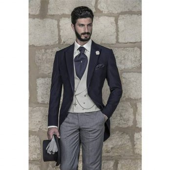 [globalbuy] Handsome Navy Morning Suits Groom Tuxedos Groomsmen Mens Wedding Prom Suits (J/4219731