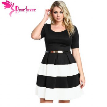 [globalbuy] Dear-Lover Women Work Wear Short Sleeve A Line Burgundy Stripes Detail Belted /4224788