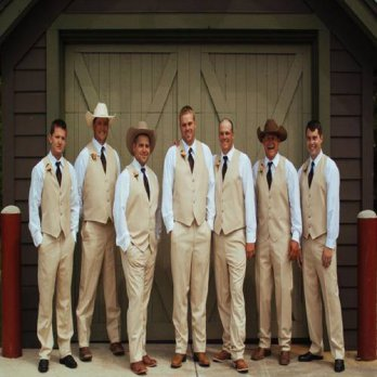 [globalbuy] Custom Made Khaki Wedding Vest and Pants For Groomsmen Clothes Polyester Waist/4219645