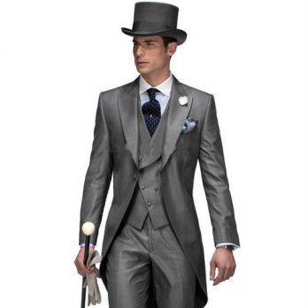 [globalbuy] Morning Style One Button Grey Groom Tuxedos Groomsmen Mens Wedding Prom Suits /4219780