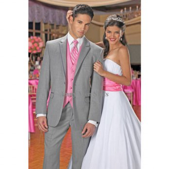 [globalbuy] 2015 Custom Made Two Buttons Light Grey Groom Tuxedos Groomsmen Mens Wedding S/4219777
