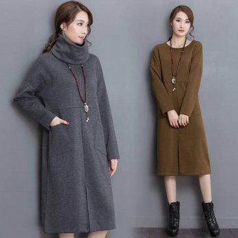 [globalbuy] Plus size S- 5XL 6XL Women Autumn Dress Turtleneck Long Sleeve Thick Warm Wint/4224866