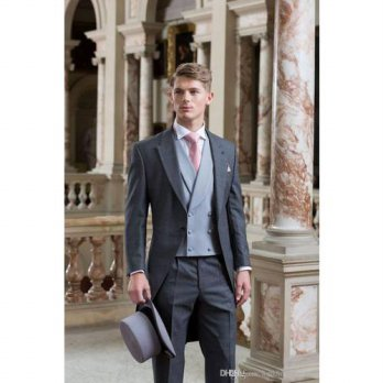 [globalbuy] Morning Style One Button Gray Groom Tuxedos Groomsmen Mens Wedding Prom Suits /4219759