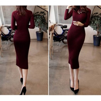 [globalbuy] New Turtleneck Women long sweater dress 2017 spring sexy slim Bodycon Dresses /4224840