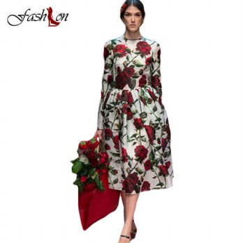[globalbuy] Print Rose Women Dresses Autumn Winter Vintage Party Real Silk O-Neck Full Puf/4224833