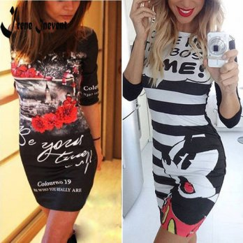 [globalbuy] Summer style 2016 new fashion Character O-Neck Print Dress half Sleeve casual /4224831