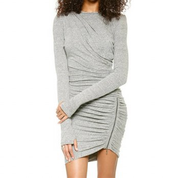 [globalbuy] 2016 NEW Fashion Designer Brands Women Clothing Spain Hot Grey Long Sleeve Zip/4224821