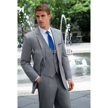[globalbuy] 2015 Hot Sale Two Buttons Light Grey Groom Tuxedos Notch Lapel Groomsman Mens /4219727
