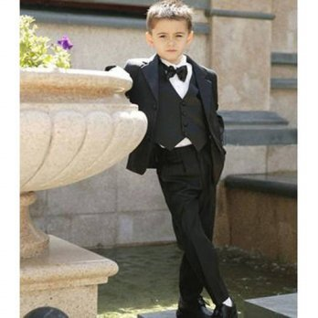 [globalbuy] 2017 Black Boy Suits Two Button Boy Tuxedos Notched Lapel Children Suit Kids W/4219685