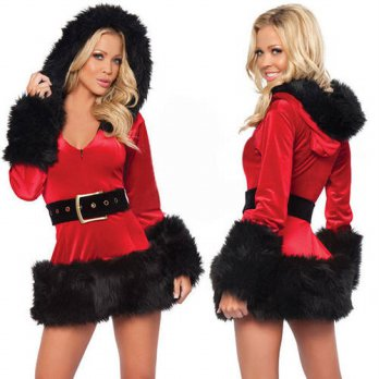 [globalbuy] Ladies Sexy Santa Costume Women Mrs Christmas Party Fancy Two Parts Dress Cosp/4224763