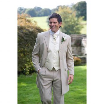 [globalbuy] Classic Style Three Button Beige Groom Tuxedos Groomsmen Mens Wedding Prom Sui/4219656