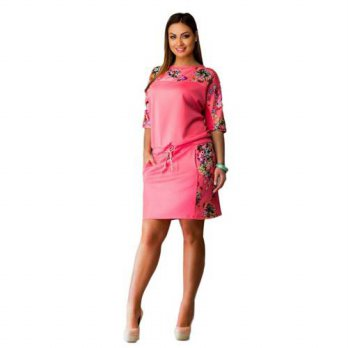 [globalbuy] Women Dress Floral Half Sleeve Plus Size Dress Size L-6XL/4224742